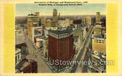 Michigan & Woodward Ave. - Detroit Postcard