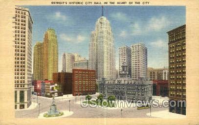 Detroit, City Hall - Michigan MI Postcard