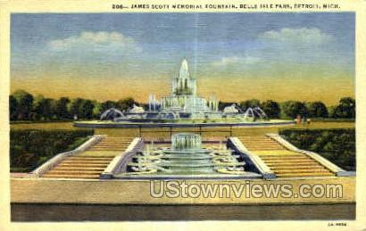 James Scott Memorial Fountain - Detroit, Michigan MI Postcard
