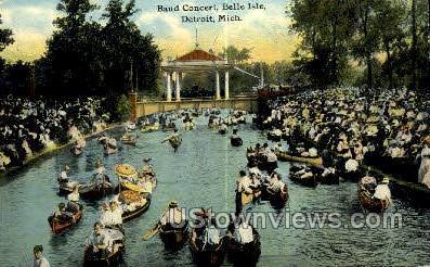 Band Concert, Belle Isle - Detroit, Michigan MI Postcard