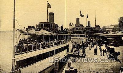 White Starline Dock - Detroit, Michigan MI Postcard
