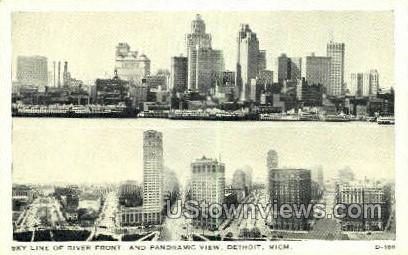 River Front - Detroit, Michigan MI Postcard