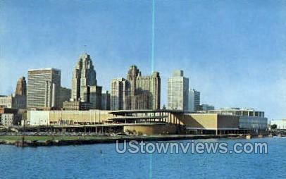 Cobo Hall, Detroit River - Michigan MI Postcard