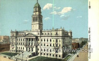 County Bldg - Detroit, Michigan MI Postcard