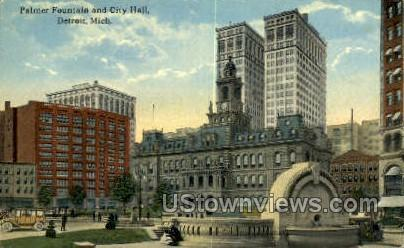 Palmer Fountain, City Hall - Detroit, Michigan MI Postcard