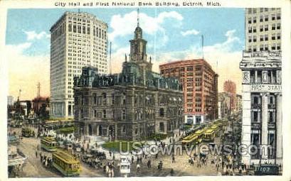 First National Bank Bldg, City Hall - Detroit, Michigan MI Postcard