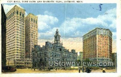 Dime Bank, City Hall - Detroit, Michigan MI Postcard