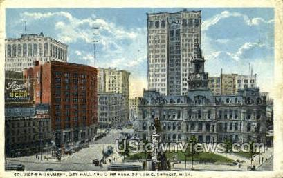 Soldier's Monument, City Hall - Detroit, Michigan MI Postcard