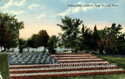 Floral Flag, Gladwin Park - Detroit, Michigan MI Postcard