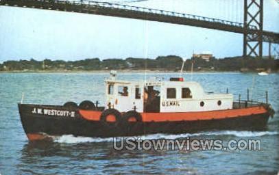 J.W. Westcott II, Mail Boat - Detroit, Michigan MI Postcard