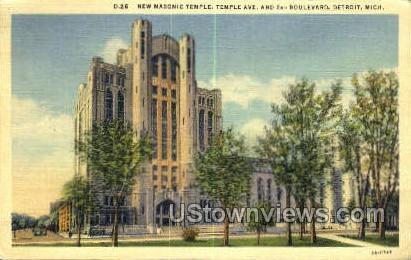 Masonic Temple - Detroit, Michigan MI Postcard