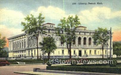 Library, Detroit - Michigan MI Postcard