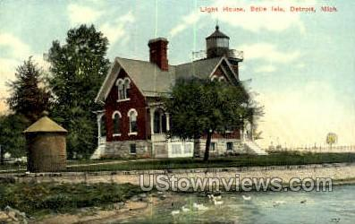 Light House, Belle Isle - Detroit, Michigan MI Postcard