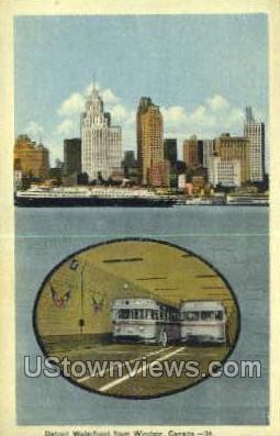 Detroit Waterfront - Michigan MI Postcard