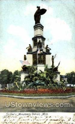 Soldier's Monument - Detroit, Michigan MI Postcard