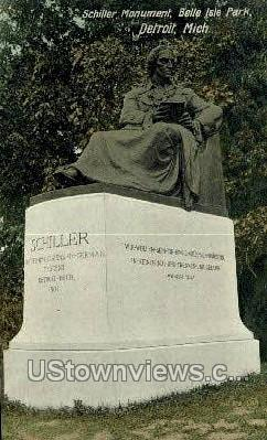 Schiller Monument, Belle Isle Park - Detroit, Michigan MI Postcard