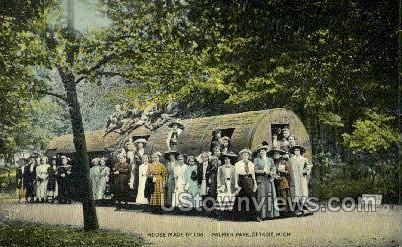 House Made of Log, Palmer Park - Detroit, Michigan MI Postcard