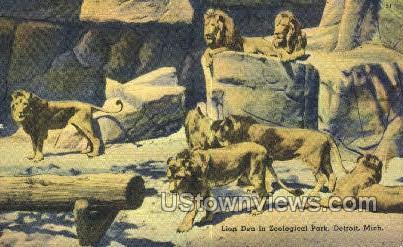 Lion Den, Zoological Park - Detroit, Michigan MI Postcard