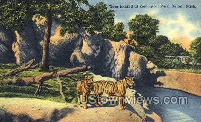 Tiger Exhibit, Zoological Park - Detroit, Michigan MI Postcard