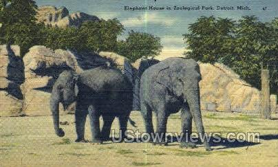 Elephant House, Zoological Park - Detroit, Michigan MI Postcard