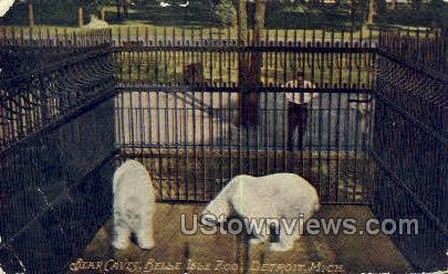 Bear Caves, Belle Isle Zoo - Detroit, Michigan MI Postcard