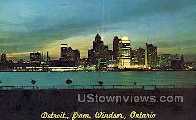 Windsor, Ontario - Detroit, Michigan MI Postcard