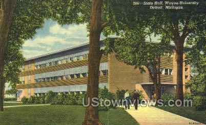 State Hall, Wayne University - Detroit, Michigan MI Postcard