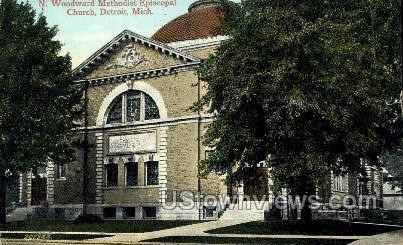 Woodward Methodist Church - Detroit, Michigan MI Postcard