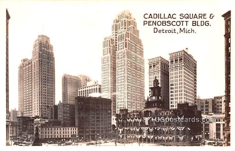 Cadillac Square & Penobscott Building - Detroit, Michigan MI Postcard