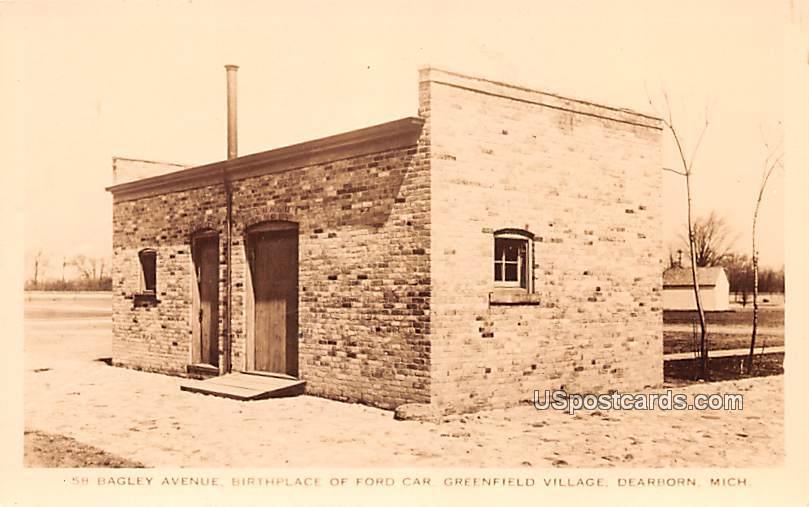 Bagley Avenue Birthplace of Ford Car - Dearborn, Michigan MI Postcard
