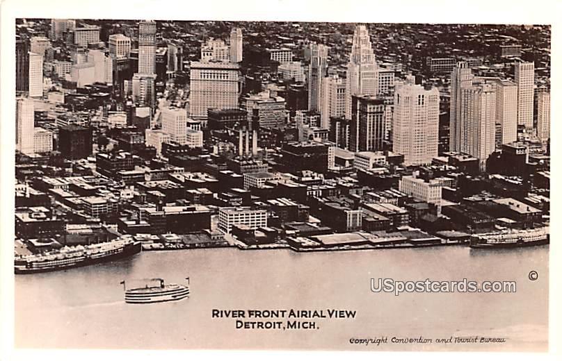 River Front Aerial View - Detroit, Michigan MI Postcard