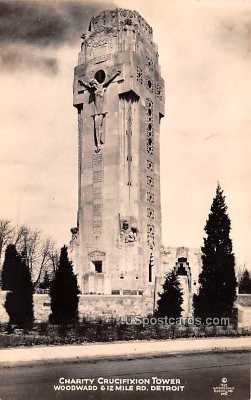 Charity Crucifixion Tower - Detroit, Michigan MI Postcard