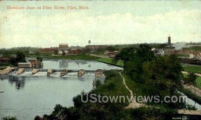 Hamilton Dam on Flint River - Michigan MI Postcard