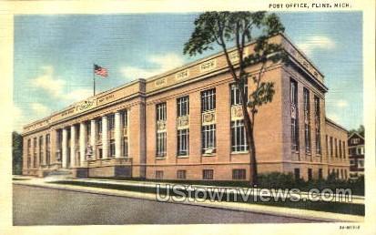 Post Office - Flint, Michigan MI Postcard