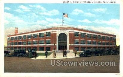 General Motors and Technical School - Flint, Michigan MI Postcard