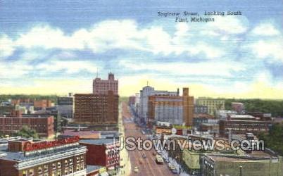 Saginaw St. - Flint, Michigan MI Postcard