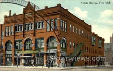 Armory Building - Flint, Michigan MI Postcard