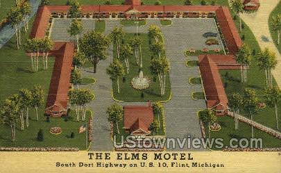 The Elms Motel - Flint, Michigan MI Postcard