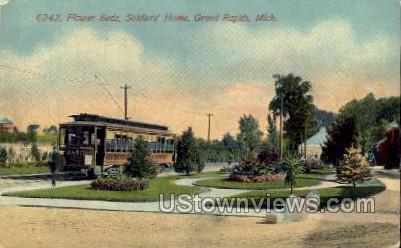 Flower Beds, Soldiers' Home - Grand Rapids, Michigan MI Postcard