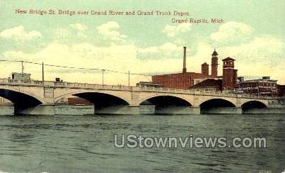 New Bridge St. Bridge - Grand Rapids, Michigan MI Postcard