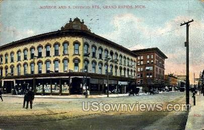 Monroe and South Division Streets - Grand Rapids, Michigan MI Postcard