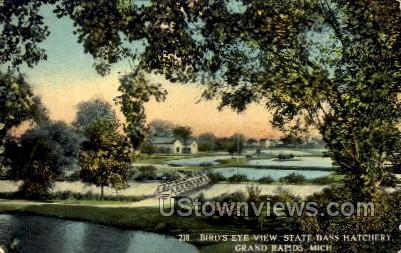 Birds-eye view State Bass Hatchery - Grand Rapids, Michigan MI Postcard