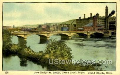 Grand River and Grand Trunk Depot - Grand Rapids, Michigan MI Postcard