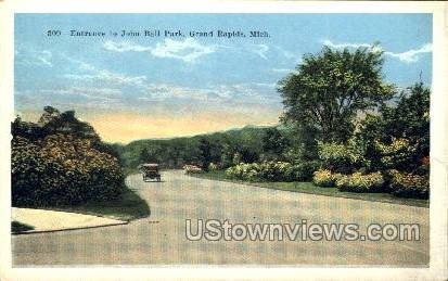 Entrance to John Ball Park - Grand Rapids, Michigan MI Postcard