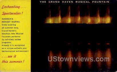 The Grand Haven Musical Fountain - Grand Rapids, Michigan MI Postcard