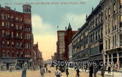 Campau Square and Monroe Street - Grand Rapids, Michigan MI Postcard