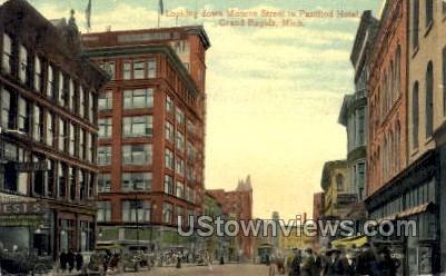Looking down Monroe Street - Grand Rapids, Michigan MI Postcard