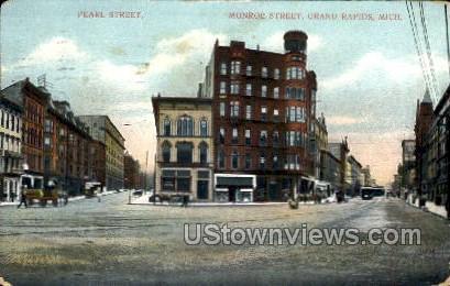 Pearl Street and Monroe Street - Grand Rapids, Michigan MI Postcard