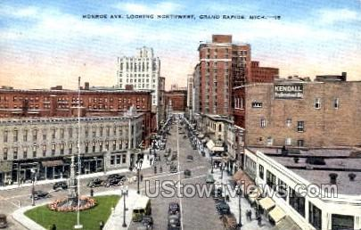 Monroe Avenue looking Northwest - Grand Rapids, Michigan MI Postcard
