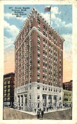 Savings Bank Building - Grand Rapids, Michigan MI Postcard